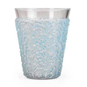 Lalique sainttropez vase clear and frosted glass with blue patina france des 1937 m p 467 no 10915 etched r lalique france 7 x 5 12