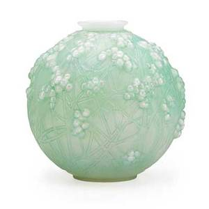 Lalique druide vase frosted and opalescent glass with green patina des 1924 m p 425 no 937 unmarked 7 x 7