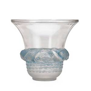 Lalique piriac vase clear and frosted glass with blue patina france des 1930 m p 447 no 1043 etched r lalique france 7 14 x 8