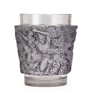 Lalique bacchus vase clear and frosted glass with grey patina france des 1938 m p 469 no 10922 etched r lalique france 7 x 6