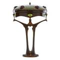 Austrian rare table lamp with glass cabochons enameldecorated with trees austria copper patinated metal glass three sockets unmarked 25 x 16