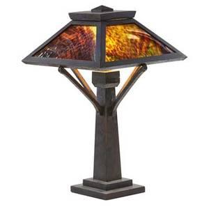 Arts  crafts table lamp usa ca 1910 oak slag glass single socket unmarked 24 x 14 12