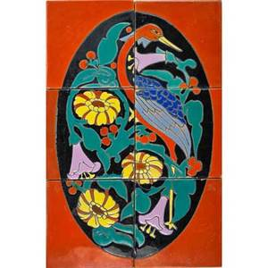 Catalina sixtile glazed ceramic panel of bird and flowers california ca 1930 four stamped catalina 17 12 x 12 x 12 total literature california tile the golden era 19101940 acme to han