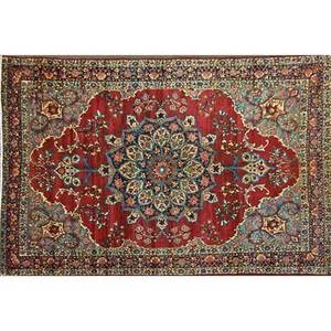 Persian kerman roomsize handknotted wool rug floral pattern in garnet and teal iran ca 1930 unmarked 9 10 x 16