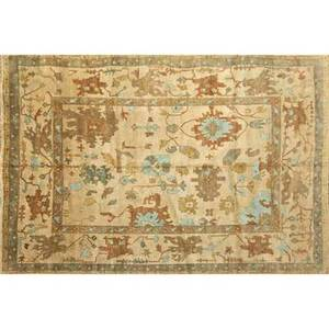 Oushak style contemporary roomsize handknotted wool rug shades of cream light orange and blue unmarked 9 4 x 12