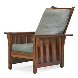 Gustav stickley spindled morris chair eastwood ny ca 1907 unmarked as shown 37 x 27 34 x 34 14