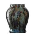 Hugh c robertson 1845  1908 dedham large experimental stoneware vase brown green and lapis drip glaze dedham ma 18961908 signed 9 34 x 7 12