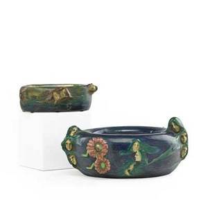 Eduard stellmacher 1868  1929 riessner stellmacher  kessel two small amphora fates bowls turnteplitz bohemia ca 1900 raised the fates seals and numbers 4 x 7 12 2 x 5 12