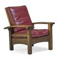 Gustav stickley bow arm morris chair eastwood ny ca 1903 early red decal as shown 38 x 31 12 x 34