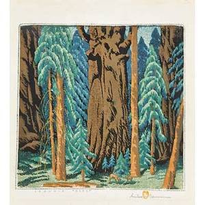 Gustave baumann american 1881  1971 color woodblock print sequoia forest santa fe nm 1960 framed and matted chop mark artists signature titled and numbered 1155 image 12 34 x 13