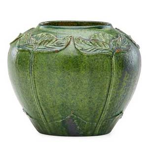 Merrimac vase with carved and applied leaves crystalline green glaze newburyport ma ca 1905 incised miii 4 12 x 5