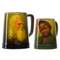 Sturgis laurence 1870  1961 bruce horsfall rookwood two standard glaze mugs one with portrait of rip van winkle 1896 one with africanamerican child 1894 cincinnati oh 1896 both with f