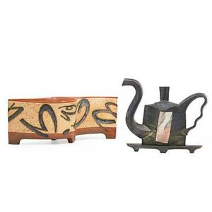 James lawton b 1954 handbuilt lidded vessel parallelogram teapot with lekythos 19921987 signed and dated vessel 6 x 16 teapot on stand 10 12 x 12 x 6 provenance the estate of dr