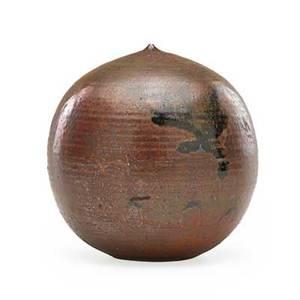 Toshiko takaeu 1922  2011 glazed stoneware moonpot with rattle clinton nj signed tt 6 x 5 12