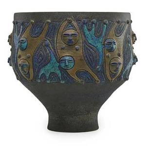 Edwin scheier 1910  2008 mary scheier 1908  2007 large glazed ceramic vessel with figures green valley az 1985 signed and dated 12 x 13 12