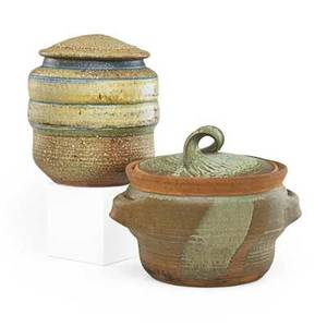Karen karnes b 1925 two covered glazed stoneware vessels vermont 1970s both stamped kk 10 x 12 12 10 x 8 12