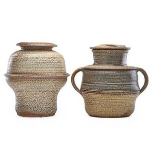 Karen karnes b 1925 two large saltglazed stoneware vessels vermont 1970s both stamped kk covered 12 12 x 12 34 vessel 13 x 11 12