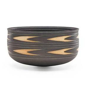 Alev ebuzziya siesbye b 1938 glazed stoneware bowl with chevron pattern paris france 1991 signed and dated 5 14 x 10 provenance the estate of dr david v becker galerie besson london