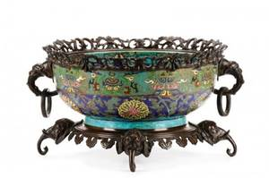 19th C French Bronze Mounted Faience Center Bowl