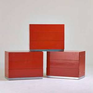 Milo baughman thayer coggin three threedrawer dressers high point nc 1970s lacquered wood chromed metal labels each 24 12 x 31 x 18