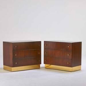Milo baughman thayer coggin pair threedrawer dressers high point nc 1970s walnut brassplated metal one foil label 27 x 32 x 18