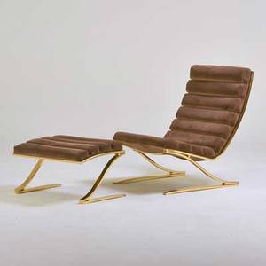 Milo baughman attr design institute america lounge chair and ottoman usa 1970s brassplated steel upholstery manufacturer labels chair 36 x 28 x 37 ottoman 16 12 x 28 x 20