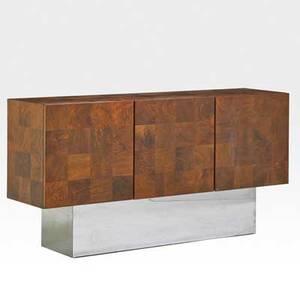 Milo baughman thayer coggin cabinet high point nc 1970s maple burl chromed steel unmarked 34 x 66 x 17 12