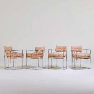 Milo baughman thayer coggin four dining chairs high point nc 1970s chromed steel upholstery unmarked 28 12 x 22 x 22