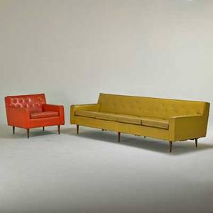 Milo baughman thayer coggin four seat sofa and lounge chair high point nc 1950s walnut vinyl remnants of labels sofa 27 x 96 x 31 chair 27 x 31 x 32