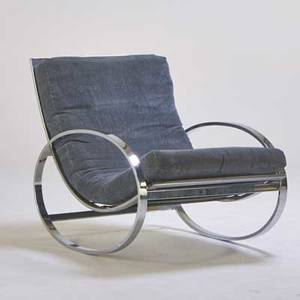 Milo baughman attr rocking chair usa 1970s chromed steel upholstery unmarked 33 x 27 12 x 42