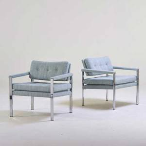 Milo baughman thayer coggin pair of lounge chairs high point nc 1970s chromed steel upholstery unmarked 30 x 28 x 28