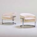 Milo baughman attr pair of club chairs lenoir nc 1970s chromed steel upholstery unmarked 26 12 x 31 x 28