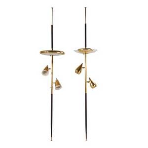 Stiffel lamp co two pole lamps usa 1960s brass and enameled metal walnut painted glass acrylic 104 12 x 20 dia