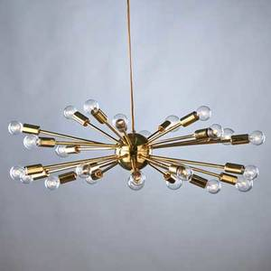 Modern lighting polished brass sputnikstyle chandelier with twenty four spokes radiating from a spherical center ca 1950s unmarked overall 6 14 x 25 dia