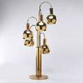 Modern lighting polished brass table lamp with five ballcovered sockets 1970s unmarked 40 x 9 12 dia