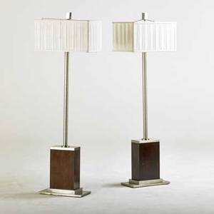 Contemporary pair of floor lamps 2000s walnut matte chromed steel fabric shades unmarked 62 12 x 20 x 12