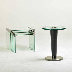 Hrs design inc side table and three nesting tables glass chromed steel lacquered wood paper label on side table side table 21 12 x 16 dia nesting table largest 16x 19 x 16
