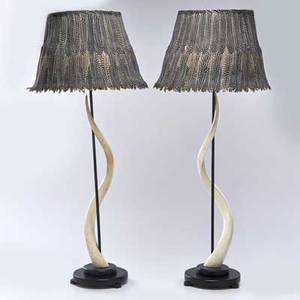Maitland smith pair of antelope horn table lamps with ebonized metal fittings and wooden bases topped with feather lampshades usa second half 20th c all unmarked lamp bases 30 x 8 dia