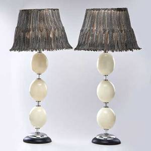 Maitland smith pair of table lamps decorated with ostrich eggs topped with feather lampshades usa 20th c chromed steel ebonized wood both unmarked lamp bases 27 x 8 dia