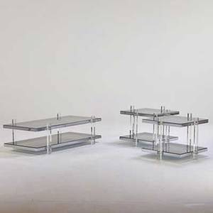 Style of charles hollis jones coffee table and pair of side tables usa 1970s chromed steel acrylic glass unmarked coffee table 16 12 x 54 x 27 side table 21 x 27 x 27