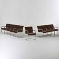Brueton ten cantilevered armchairs usa 1970s chromed steel mohair upholstery 30 12 x 21 x 24