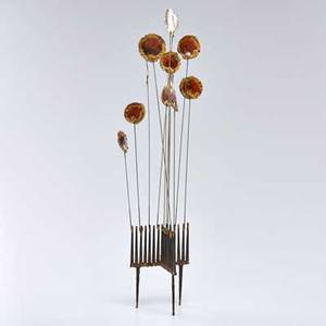 Style of c jere kinetic brass sculpture with stylized flowers 1970s unmarked overall 24 12 x 4 34 x 5