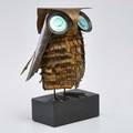 C jere artisan house brass owl table sculpture with enameled eyes on an ebonized wood base usa 1967 signed and dated 17 x 9 sq