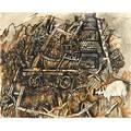 Philip howard evergood american 19011973 ink wash on paper charred home and old pig 1962 framed signed and dated 18 14 x 22 58 irregular sheet
