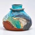 Suzanne stephenson large ceramic vessel glazed in polychrome michigan 1980s unmarked 11 x 10 34 dia