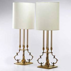 Stiffel lamp co pair of candle lamps usa midlate 20th c brass enameled metal silk shades both with foil labels each without shade 33 14 x 8 14 sq