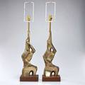 Laurel pair of freeform table lamps usa 1960s brassplated metal walnut unmarked 29 x 8 x 7 fixture