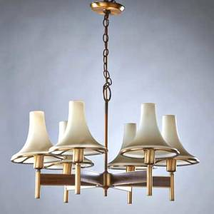 Laurel sixarm polished brass chandelier with wood veneer with original glass shades newark nj 1960s sticker label 17 12 x 28 12 dia
