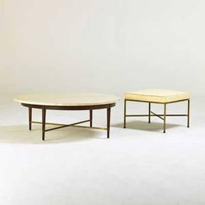 Paul mccobb calvin coffee table and bench grand rapids mi 1950s walnut brass travertine vinyl manufacturers label to coffee table coffee table 15 x 42 dia bench 16 x 20 12 sq