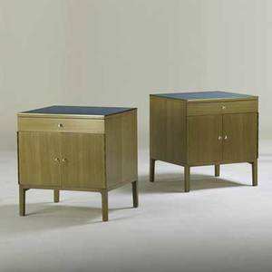 Paul mccobb calvin pair of nightstands grand rapids mi 1950s bleached mahogany brass brass labels each 24 14 x 22 x 20 14